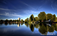 Olympic Reflection,, (abdull) Tags: park trip blue summer sky reflection green clouds canon germany munich sigma bmw kuwait olympic 2008 1020 hdr xsi abdullah 10mm 450d alhamad