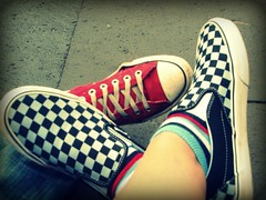 nice shoes (Emjay -> MJ) Tags: city trip blue red summer vacation white black classic feet socks germany foot grey holidays punk cross pants skin stripes emo central style ground german converse vans chucks