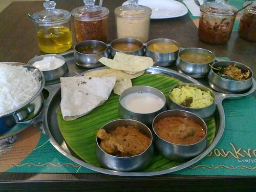 Sankranti Special: phulka, white rice, sengapodi, nallakaram, ghee, pickle, roti pachadi, pappu, vepudu, rasam, appalam, charu, chicken korma, fish pulusu, curd, and sweet