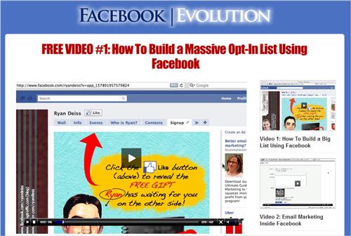 『Facebook Evolution』(Facebookエボリューション)のセールスレター