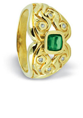 Green Stone and Diamond Ring