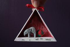 No I will not balance (Donna Nicholson Arnott) Tags: sculpture elephant art wall ink ball 3d wire triangle tiny balsa scowl ribbon performer notperforming donnanicholsonarnott noiwillnotbalance theuncooperativecircus
