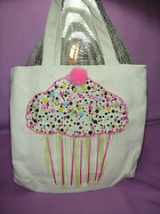 Mini Cupcake Tote (luvs2sew) Tags: cute bag beads canvas cupcake sprinkles pompom blanketstitch cupcakebag