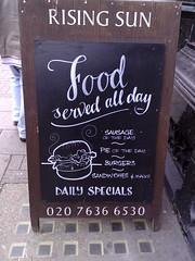 Rising Sun (pauldhunt) Tags: london chalk signage lettering blackboard pubsigns sandwichboard