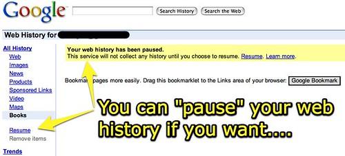 Pausing Google Web History