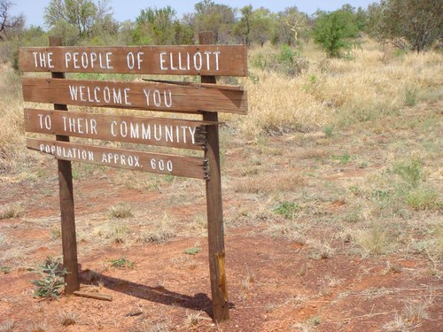 Elliott - pop. 600. The biggest settlement between Katherine and Tennant Creek.