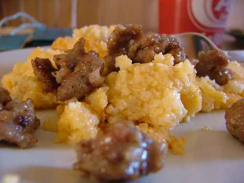 Oklahoma Grits and Neese Sausage. Oh yeah.