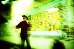 hi-speed busk (FatMandy) Tags: blur green london film yellow analog lomo lca xpro lomography cross ct slide ishootfilm slidefilm crossprocessing busker agfa expired russian processed e6 precisa