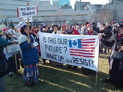 Raging Grannies at anti-George W. Bush demo, Ottawa, Ontario (chasdobie) Tags: urban ontario canada ottawa georgebush antiamerican demonstration antiwar finepix antibush raginggrannies