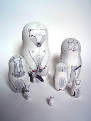 what berries? (Irina Troitskaya) Tags: bear white rabbit toy wooden hare doll acrylic russia ermine goat seven handpainted owl russian ptarmigan snowleopard nesting matrioshka matryoshka babooshka whitebear russiandoll matreshka nestingdoll whiteset willowgrouse whatberries