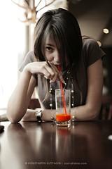 Red Juice (Konstantin Sutyagin) Tags: red woman eye girl beautiful dark tomato asian drink juice drinking contact brunette sutyagin