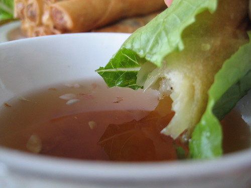 Dipping Egg Roll
