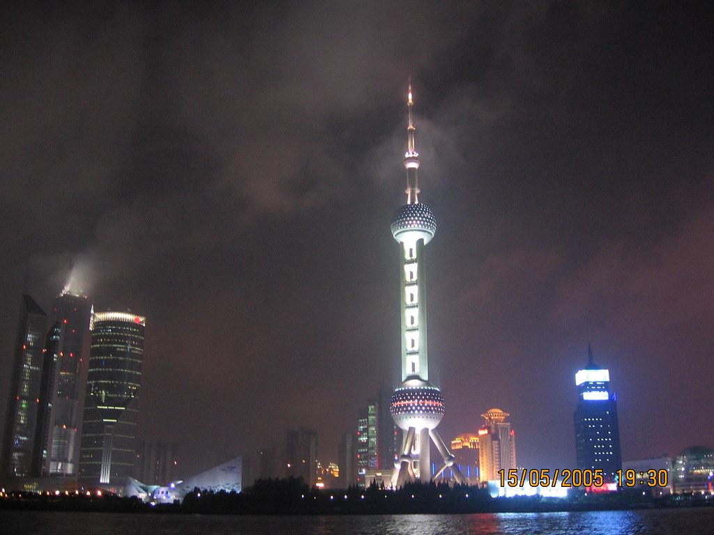 Night Scene of Oriental Pearl Tower at Shanghai