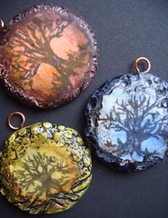 Tree pendants- Night, Moss and Sunset (gabriel studios) Tags: tree handmade jewelry clay bead supplies pendant polymer michelegabrielstudios