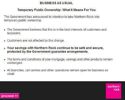 Northern Rock message to customers