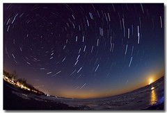 STAR TRAILS AND FISH EYE (_Val W) Tags: longexposure nightimages shorelines moonrise beaches moonlight nightshots determined 6c afterdark thebeach startrails fisheyelens superbmasterpiece nocturnalmasterpiece club16 myfingersarefrozen stackedinstartrailsexe