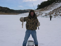 Tom With a Very Small Lake Trout (fethers1) Tags: icefishing laketrout grossreservoir