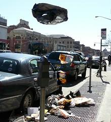 Sidewalk Levitation (Trish Mayo) Tags: street newyork cars bicycle brooklyn trash garbage newspapers floating sidewalk photowalk l parkingmeter grates layspotatochips blackplasticbag dragongoldaward levtation