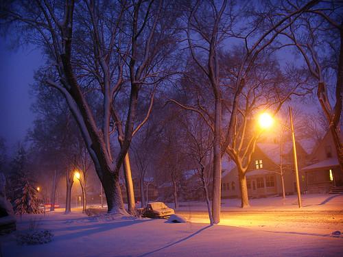 snowy neighborhood night 2 by Micah Taylor