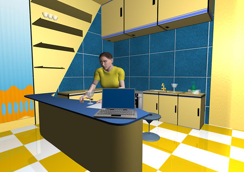 Graphic showing Animated Character in Kitchen