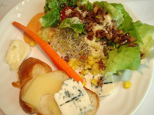 Salad and cheese platter