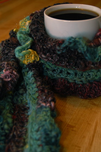 crocheted handspun scarf