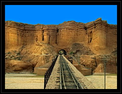 Invincible (Explored). (Commoner28th) Tags: railroad bridge pakistan sky mountain afghanistan station train landscape track iran spirit hill railway hills geography bolan chaman csa mach invincible quetta pakistanrailway commoner sibi baluchistan pakis