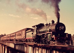 Passenger train at Petrie (Leonard John Matthews) Tags: bridge train engine railway australia steam queensland predigital locomotive passenger b18 narrowgauge petrie mythoto