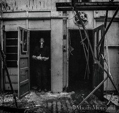 The Disturbed Ones (micahmoreland) Tags: creepy horror surreal surrealism surrealist conceptual costume world war 2 ii dystopian scary haunting grunge texture male toxic death gas mask baby doll child urbex abandoned machine shop urban exploration monochrome black white