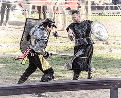 Mortal Combat (Wes Iversen) Tags: fencefriday hff holly michigan michiganrenaissancefestival nikkor18300mm chains combat combatants costumes fences knights performances performers swords men people