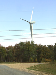wind turbine with powerlines