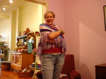 Nadja la Claire wearing her shawl