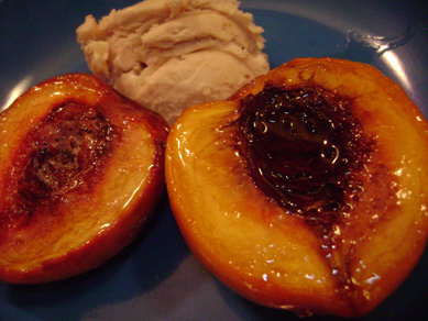 baked peaches with ginger with fig gelato