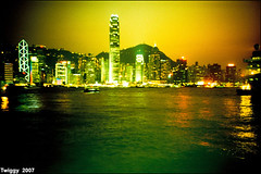 Victoria Harbour (Twiggy Tu) Tags: life trip film night hongkong seaside lomo lca colorful oct 2007 victoriaharbour p1f1