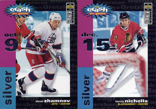Bernie Nicholls, Alexei Zhamnov, 95-96 Collector's Choice, You Crash the Game, Chicago Blackhawks, Winnipeg Jets, hockey cards