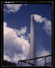 Smoke stack of TVA chemical plant where elemental phosphorus is made, vicinity of Muscle Shoals, Alabama  (LOC) (The Library of Congress) Tags: industry clouds vintage industrial industy alabama slidefilm steam smokestack 1940s transparency 4x5 lf libraryofcongress 1942 largeformat chemical transparencies phosphorus historicalphotographs colbertcounty muscleshoals xmlns:dc=httppurlorgdcelements11 pollutio dc:identifier=httphdllocgovlocpnpfsac1a35277 palmeralfredt