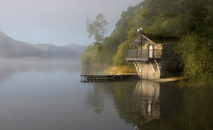 After the Mist (Jonnyfez) Tags: morning lake mountains water landscape jetty lakes hills cumbria fells boathouse ullswater pooleybridge d80 jonnyfez