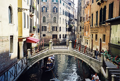 Canal and bridge in Venice (pjink11) Tags: venice windows italy film europe bridges canals shutters 1998 venito