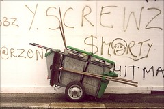 elmfield road sweeper (chirgy) Tags: green london graffiti fuji rangefinder scan brushes council analogue 12 cart expired countdown barrow walthamstow sanitation grubby streetsweeper sweeper nph400 zorki6 elmfieldroad trashbit fed50mmf35collapsable