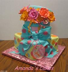 Linda's 65th Birthday Cake (mandotts) Tags: pink orange green teal gifts hatbox presentcake sugarflowers ladiesbirthdladiesbirthdaycake
