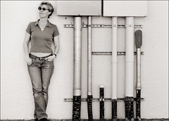 Some pipes...70/366 (YetAnotherLisa) Tags: bw selfportrait me sunglasses self canon steel pipes jeans 365 impressedbeauty project3662008