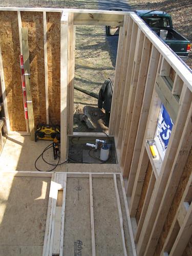 bathroom framing remodel carpentry addition parkranger shenandoahriverstatepark browncabin