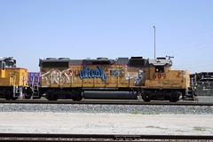 Diesl • Jaber (ikeya 14•2•1) Tags: california railroad streetart up train graffiti la pacific graf union unionpacific spraypaint boxcar hobo railfan freight 609 jaber rxr moniker hobotag hobomoniker diesl benching