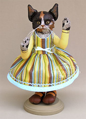 """Fiona"" Original Calico Kitten Folk Art Cat Doll by Elizabeth Ruffing"