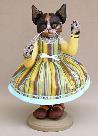 Fiona the Calico Kitten, Original One-of-a-kind Folk Art Doll by Elizabeth Ruffing