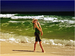 Lea on The Pensacola Beach - digital watercolor (Magda'70) Tags: usa green yellow america watercolor us digitalpainting painter lea fl pensacolabeach abigfave corelpainterx