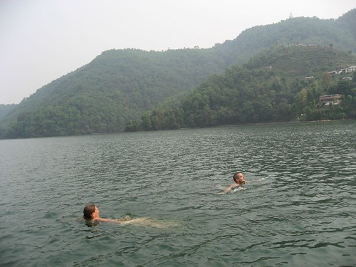 Marie (England) and Kevin go for a swim