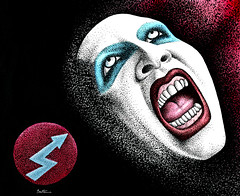 Marilyn Manson -1- (Ben Heine) Tags: wallpaper usa black art rock ink dark watercolor painting paper print poster logo scary punk artist child expo image contemporaryart marilynmonroe aquarelle fineart band makeup evil balls disney romance american madness metalmusic singer watercolour oh arrow lipstick unusual cry dots copyrights sick powerful outrageous musique shocking marilynmanson fearless shout blackink violent antichrist plume charlesmanson chanteur pointillism resident musicien anticapitalism facialexpression crazyness provocation mobscene androgyn grammyaward pennib benheine mixedstyles anticonformism antechrist mansinthe brianhughwarner teethnmouth infotheartisterycom fullbiography