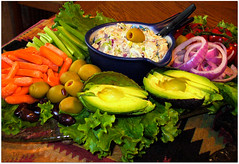 Healthy Party Platter of Delicious Food (Scandblue) Tags: food salad healthy onions lettuce carrots sliced platter chickensalad avacado foodtray thegalleryoffinephotography