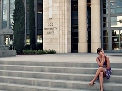 Library steps. (.the body electric.) Tags: orange california chapman university steps library girl thoughtful crossedlegs pondering stark concrete